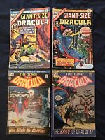 TOMB OF DRACULA Lot of 4 comics: #2, #4, Giant-Size #4 & #5 (Key issue) - G/VG