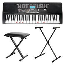 61 Leucht Tasten Keyboard Lern Sounds Rhythmen USB MP3 Set Ständer Bank Hocker
