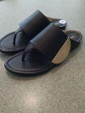 CALVIN KLEIN CK Behati 8 Black Tumbled Leather Flip Flop Summer Sandal Slippers