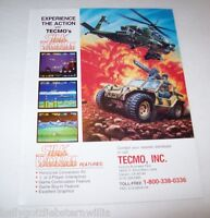 1988 TECMO SILK WORM VIDEO ARCADE GAME ADVERTISING NOT A FLYER