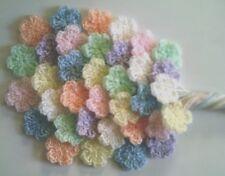 Foxy Flowers 35 Hand Crochet Applique Flowers - Pastel Shades - 3.5cm