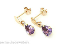 9ct Gold Amethyst Teardrop earrings Gift Boxed