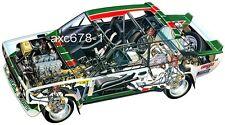 Fiat Abarth 131 Rallye / Walter Röhrl 1977 - Schnittzeichnung