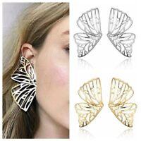 Women Gold Hollow Butterfly Earrings Zinc Alloy Ear Stud Fashion Jewelry--