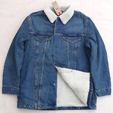 LEVIS Long Sherpa Jean Jacket Trucker Denim Cotton Blue Warm Men's Large