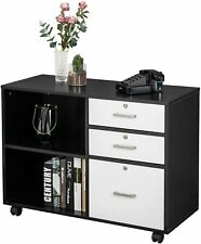 Wood File Cabinet With 3 Drawer And 2 Open Shelves Office Storage Cabinet