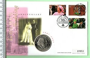 1997 ELIZABETH AND PHILIP GOLDEN WEDDING ANNIVERSARY COIN AND STAMP F.D.C. (2)