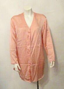 Victoria's Secret Gold Label 100% SILK Long Sleeve Sleep Shirt Nightgown Small