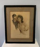 Antique Framed The Same Old Forbidden Fruit Print Howard Chandler Christy 1914