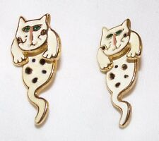 Cat Earrings White Dangle 2 Piece Jewelry Adorable Feline Kitty