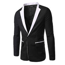 Men's New Slim Fit One Button Splice Casual Suit Blazer Coats Jackets Tops