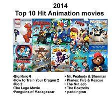 2014 TOP 10 HIT ANIMATION MOVIES, BIG HERO 6, LEGO MOVIE, RIO NEW UK R2 DVD