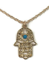 Hamsa Hand Necklace Pendant Gold Coloured Chain Blue Bead Fashion Accessory