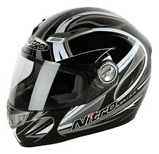 Nitro Ballistic Fibreglass SHARP 5 Star Motorcycle Helmet Black/Gun/White XS