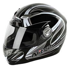 Nitro Ballistic Fibreglass Sharp 5 Star Motorcycle Helmet Black/gun/white XS