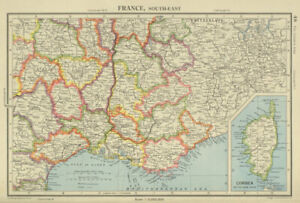 FRANCE SOUTH-EAST pre 1947-border changes. w/o Tende & Mt Cenis 1947 old map