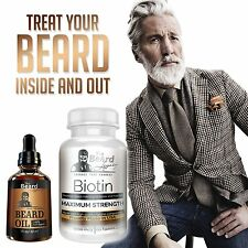 BEARD GROWTH FORMULA - Biotin 1 Beard Growth Supplement + Beard Oil Men Grow