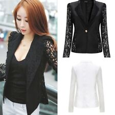 UK Women Lace Long Sleeve Button Blazer Slim Peplum Suits Top Jacket Outwear New