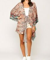 New Gigio By Umgee Kimono S Small Peach Floral Paisley Tie Front Boho Peasant