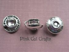5 x TEA CUP & SAUCER DECORATED 3D Tibetan Silver Charms Pendants Beads
