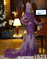 Lavender Muslim Mermaid Long Sleeve Luxury Wedding Dress Bridal Gown With Hijab