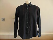 Mens Black with Red lines long sleeve Shirt - Size S - Topman