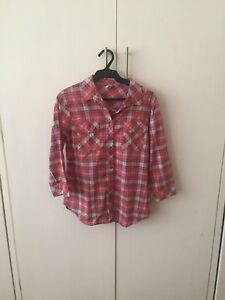Nita Longsleeved Blue Red White Plaid Buttondown Blouse FS