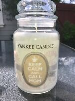 ☆☆KEEP CALM AND CALL MOM☆☆ LARGE YANKEE CANDLE JAR 22OZ. ☆☆ FREE SHIPPING☆☆