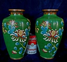 PAIR Large Vintage Chinese Cloisonne on Copper Vases Lamp Bases