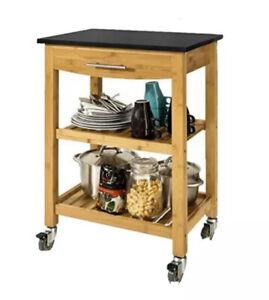 Kitchen Trolley Cart Black Granite Top Drawer And 2 Shelves Sobuy Bamboo Island