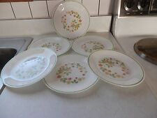 VINTAGE CORELLE STRAWBERRY SUNDAE SUNDAY 6 LUNCH SALAD PLATES w LIME GREEN TRIM