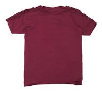 River Island Womens Size 14 Cotton Blend Burgundy Cold Shoulder T-Shirt (Regular