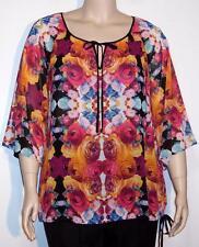 NWT Nicole Miller Pullover 3/4 Kimono Sleeve Sheer Top XL Mirrored Mayhem
