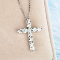 1.00 Ct Round Cut Diamond Cross Vintage Pendant Necklace In 14k White Gold Over