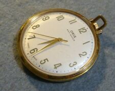 Gold plate Oris pocket watch, very good condition, keeping good time, dia = 48mm