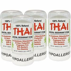 Thai Natural Crystal Deodorant Stone 4.25 oz Pack of 4