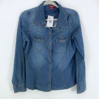 NWT Guess Los Angeles Denim Snap Front Lightweight Jean Shirt Size Large