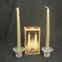 VINTAGE BORGONOVO QUEEN CLEAR GLASS TAPER CANDLE STICK HOLDER SET MADE IN ITALY