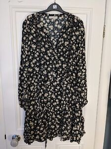 Women's Oasis Black Floral Mini Dress Size 16