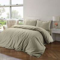 Luxury Soft 100% Pure Natural Cotton Linen Colour Quilt Duvet Cover Bedding Set