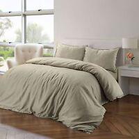 Luxury Soft 100% Pure Natural Cotton Linen Colour Quilt Duvet Cover Bedding Set