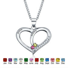 Personalized Birthstone Necklaces & Pendants Couple Heart Lover Names Charms