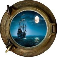 Huge 3D Porthole Pirate ship Boat Scooner at night View Wall Stickers Decal 217