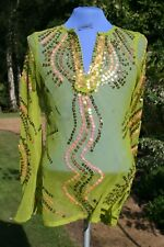 LADIES Designer Beach Top Tunic/ Kaftan - Size 10 Sparkly Gold & Lime
