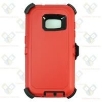 Red Black For Samsung Galaxy (S7) Defender Case w/ Clip fits Otterbox