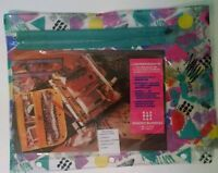 VTG Caboodles Binder Buddies Cosmetic Makeup Pencil Pouch Geometric NEW NOS