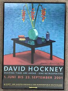"""David Hockney Signed Poster """"Halaconia In Green Vase, 1996"""" Framed"""