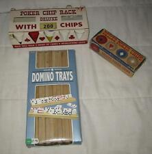 LOT OF 3 WOOD DOMINO TRAYS & VINTAGE POKER CHIP RACK DELUXE W/300 MADE IN USA