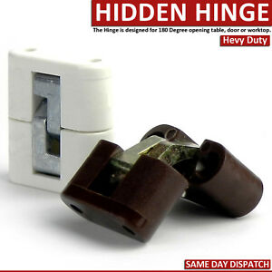 2x Invisible Concealed Cross Hinges 180º for Caravan Worktop Table Hidden Strong
