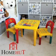 Kids Table and Chair Set ABC Alphabet Childrens Plastic Toddlers Childs  School